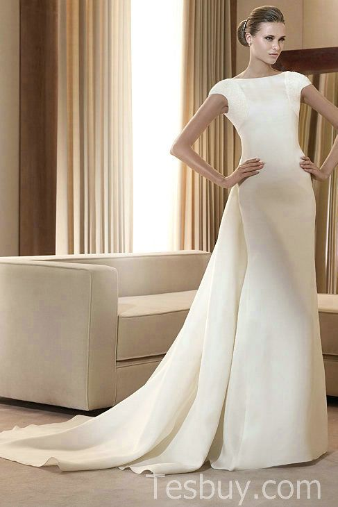 Full Neckline Satin Column Short Sleeves Wedding Dress With Watteau Train
