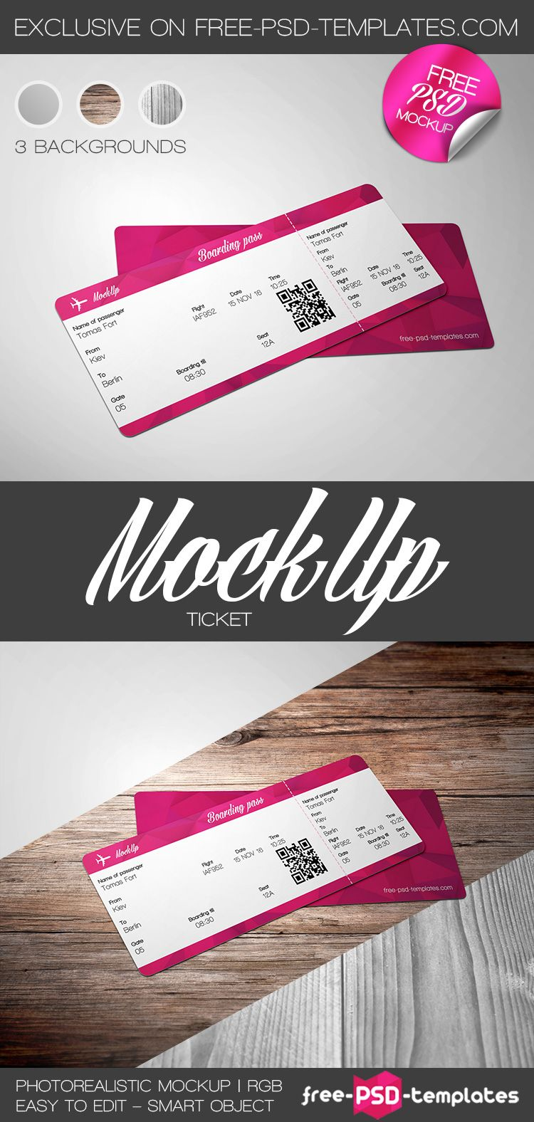 Free Ticket Mock Up In Psd Psd Template Free Ticket Template Free Printables Ticket Design Template