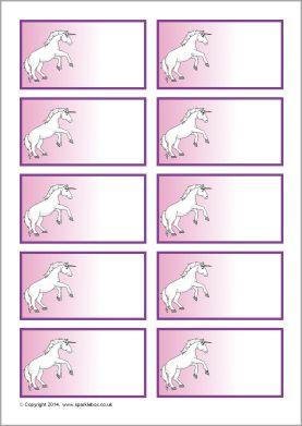 Unicorn Themed Editable Peg Labels Sb10727 Sparklebox