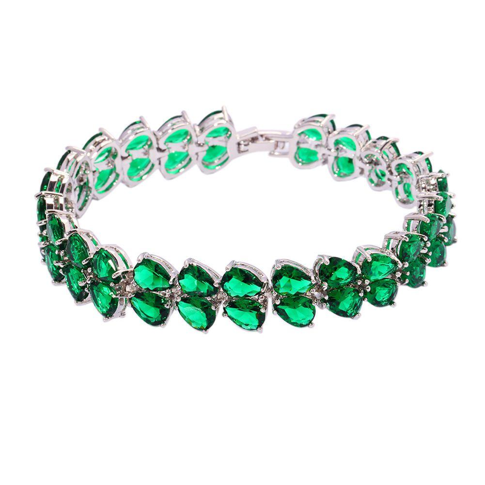 Green quartz silver fashion women jewelry gemstone chain bracelet
