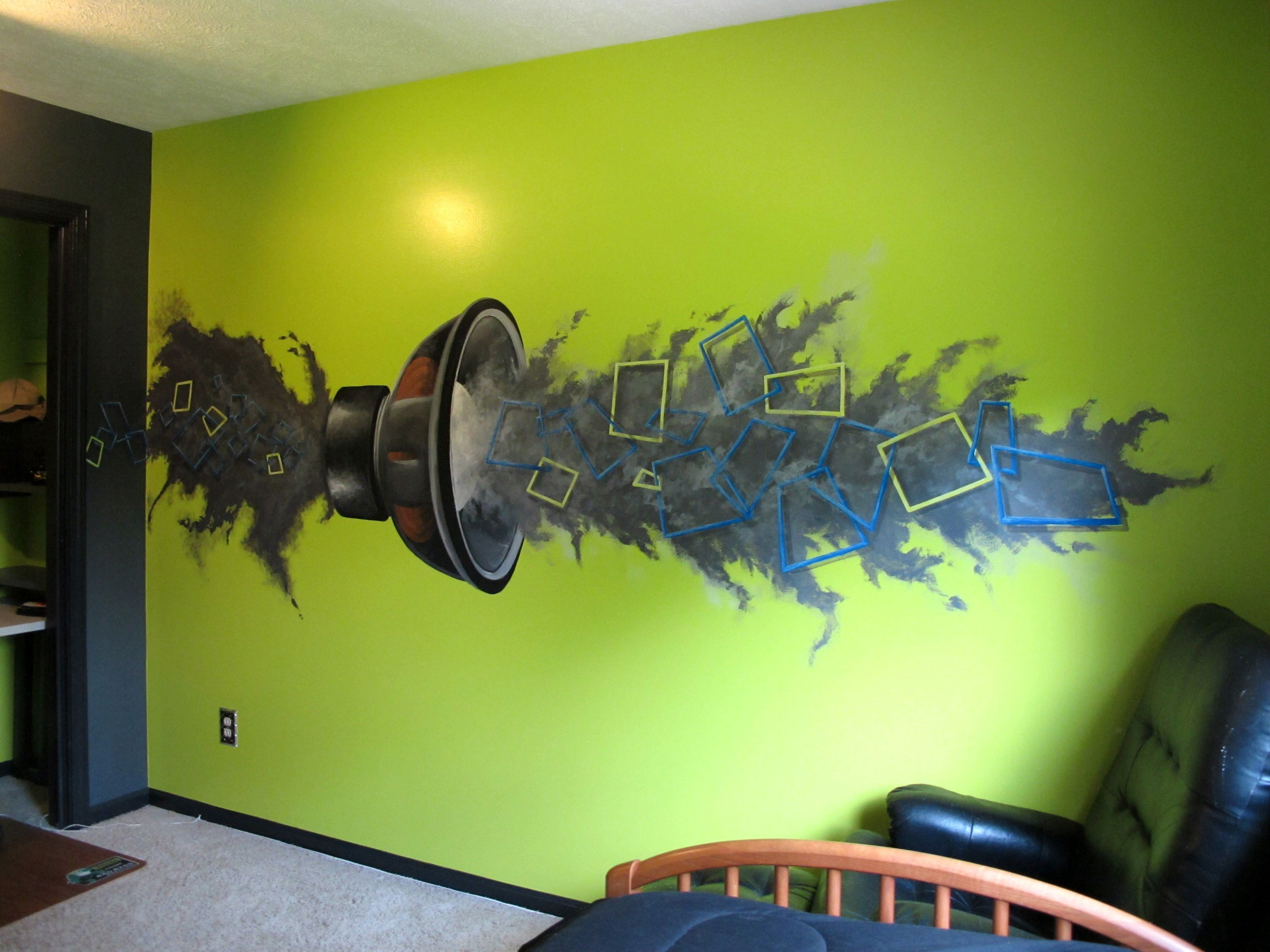 I Finished The Mural Seth Chose For His Room He Chose The Fluorescent Green Charcoal Combo For His Walls Too Bedroom Green Mural Neon Green