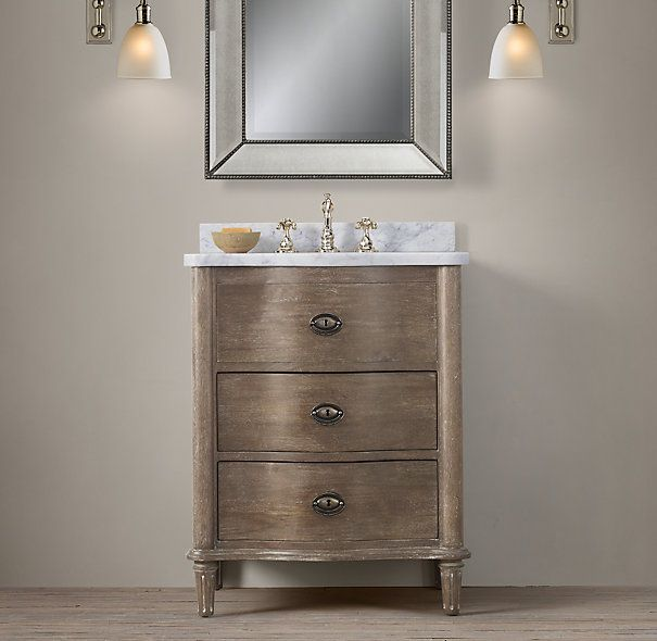 Empire Rosette Powder Room Vanity Sink From Restoration Hardware... Ordered  With Crema Marble