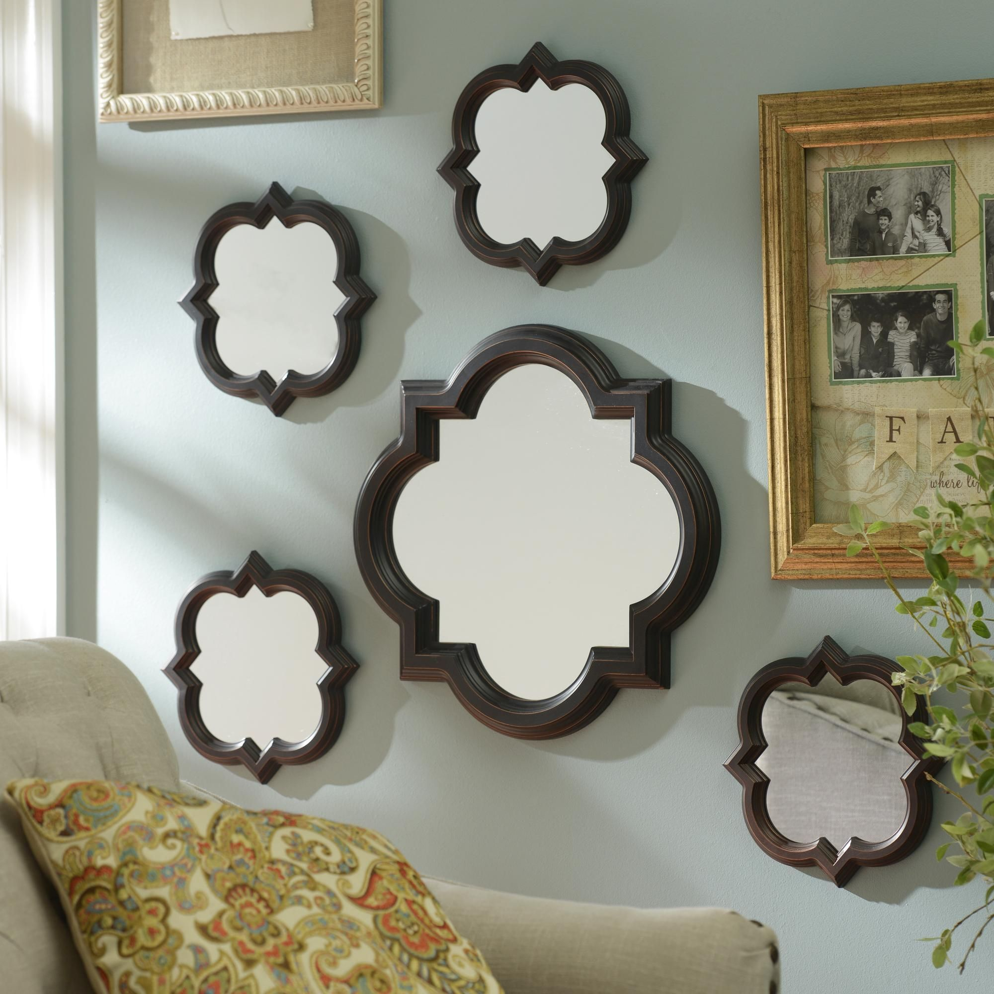 Wall Decor Mirror Sets bronze quatrefoil mirrors, set of 5 | quatrefoil, mirror set and
