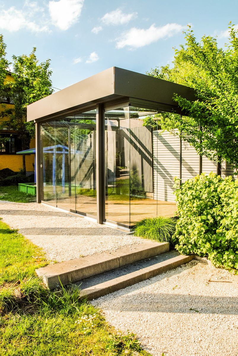 Schmidinger Sommergarten Anthrazit grau Flachdach