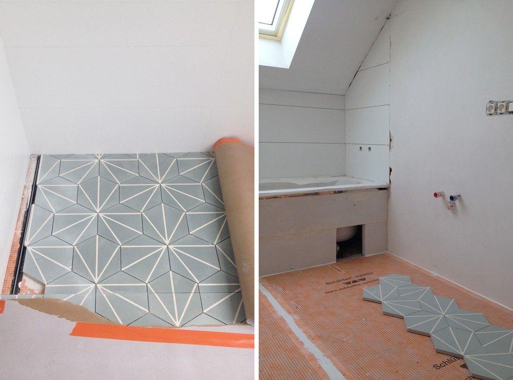 Salle de bain Auguste et Claire - Pose carreaux ciment