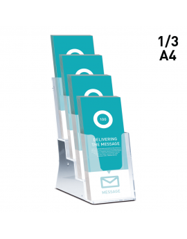 double Aluminium A4 size Wall Mounted Brochure Holder single triple or more