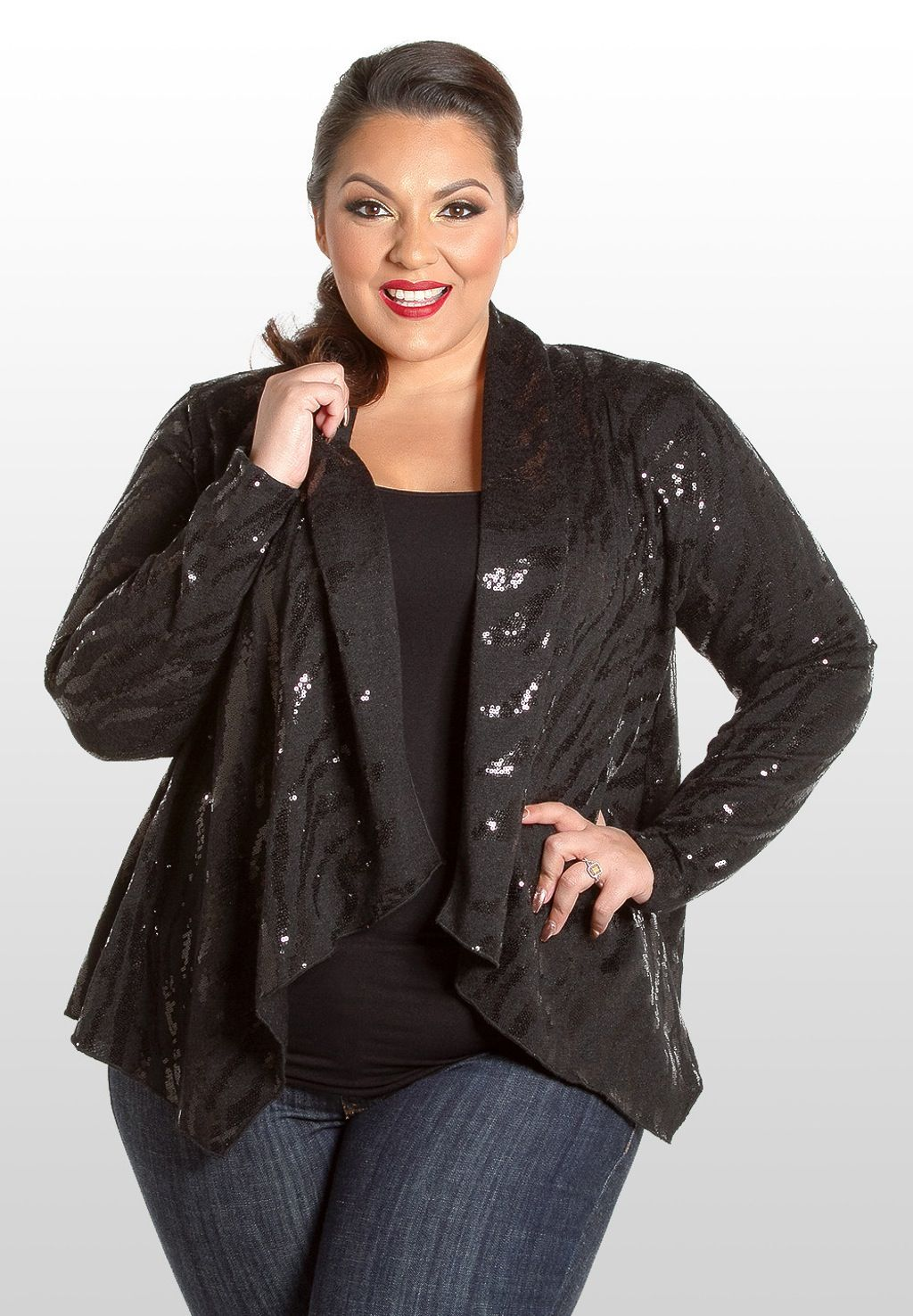 NEW Plus Size Sequin Cardigan - Black www.curvaliciousclothes.com ...