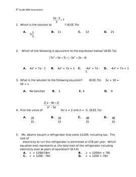 8th Grade Common Core Pre-Test for entire Year | 8th grade