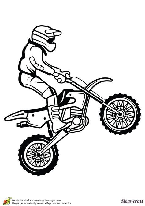 Coloriage D Un Homme Faisant Un Petit Saut Avec Son Moto Cross
