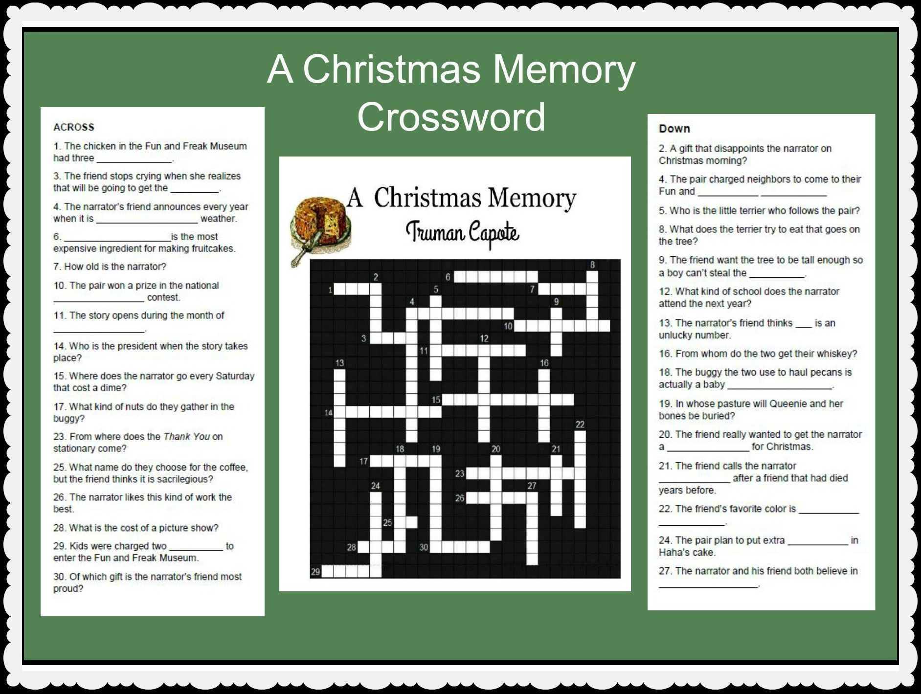 a christmas memory by truman capote a lesson activity to review plot and characters of the beloved short story crossword with answer key - A Christmas Memory Full Text
