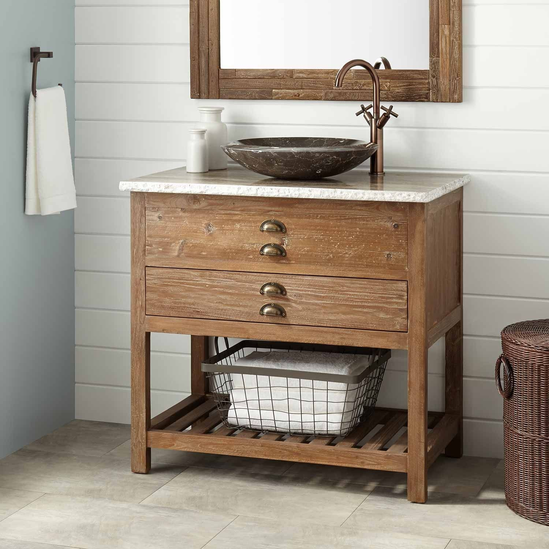 """36"""" Benoist Reclaimed Wood Vessel Sink Vanity Pine"""