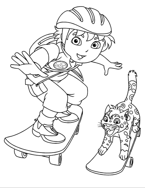 Up Skateboard Coloring Pages For Kids Printable Go Diego