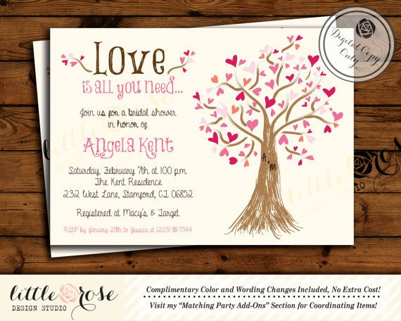 All You Need Is Love Wedding Invitations: Valentine's Bridal Shower Invitation / Wedding Shower