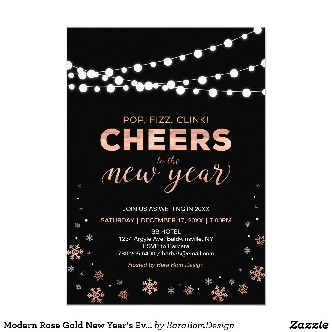 Modern Rose Gold New Years Eve Party Invitation Zazzle Com Corporate Holiday Party Invitations New Years Eve Invitations Holiday Party Invitations