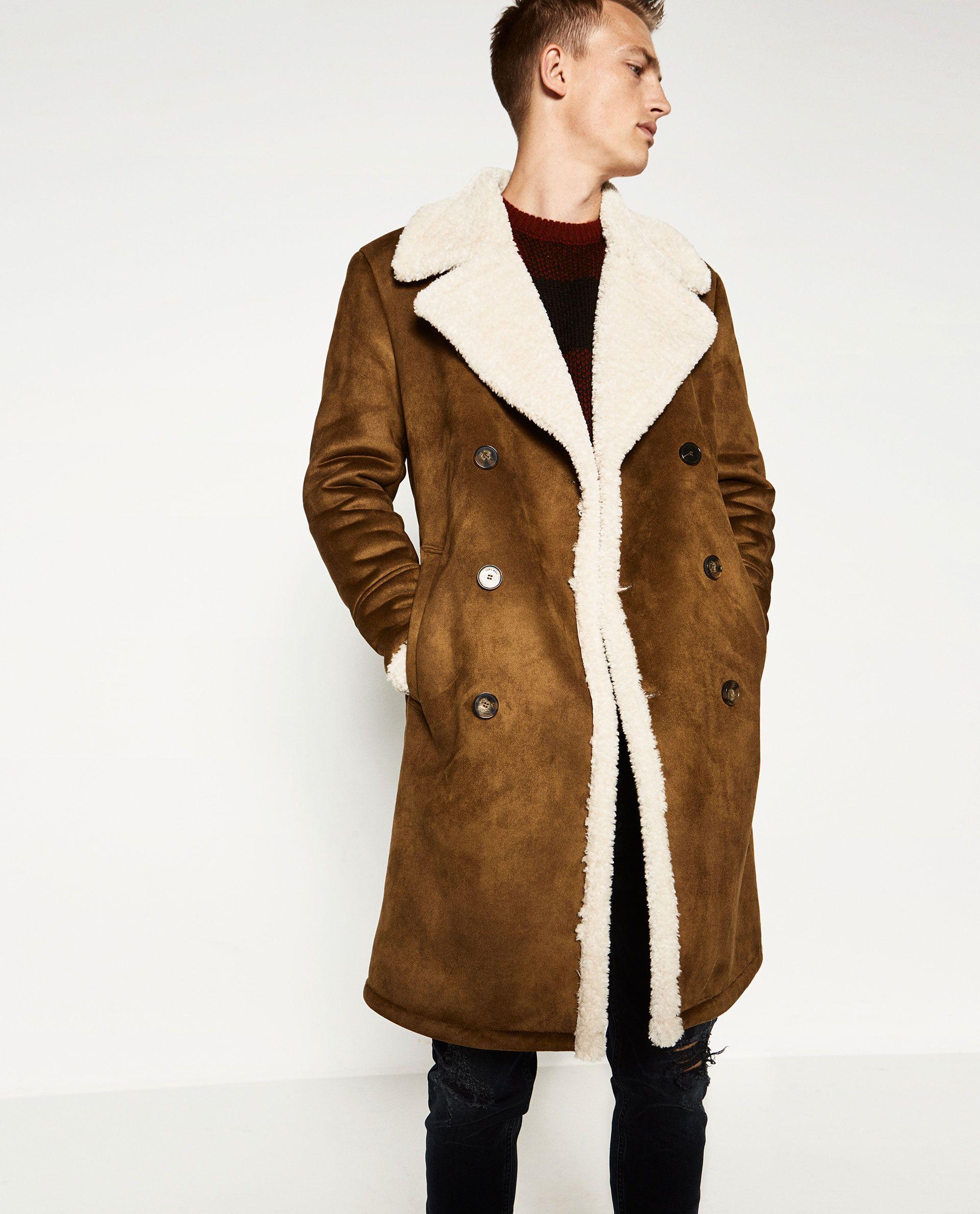 ZARA DoubleFaced Coat Mens shearling coat, Custom