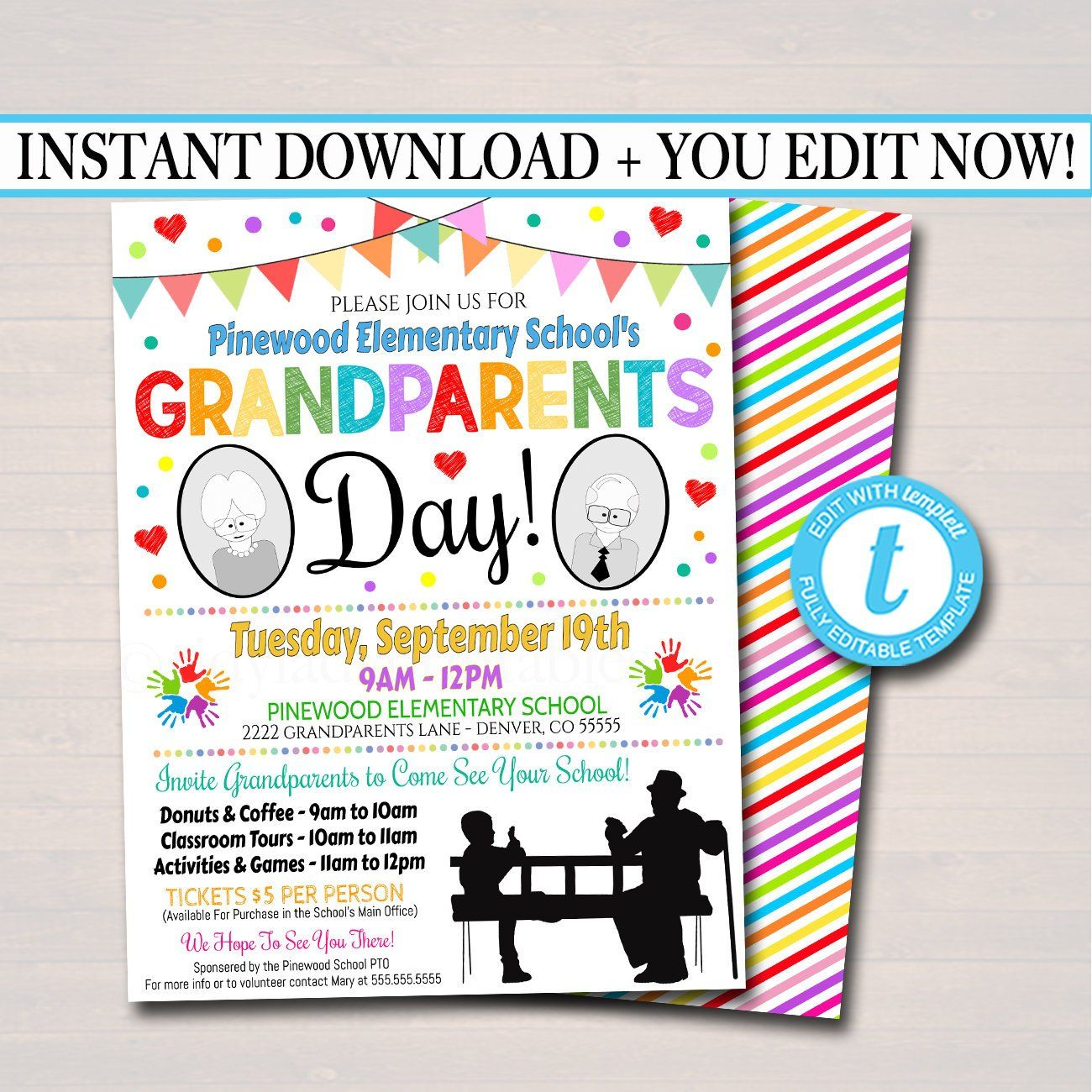 Editable Grandparents Day Invite Breakfast Social Printable Etsy School Fundraisers Grandparents Day Charity Work Ideas