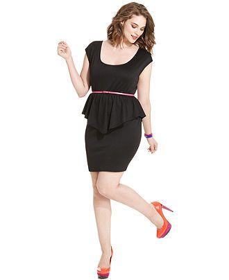 American Rag Plus Size Dress Cap Sleeve Peplum Belted Plus Size