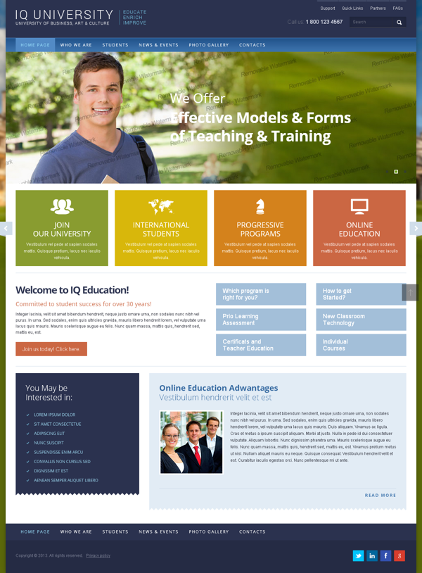 IQ University Of Business Bootstrap HTML Template by Dynamic ...