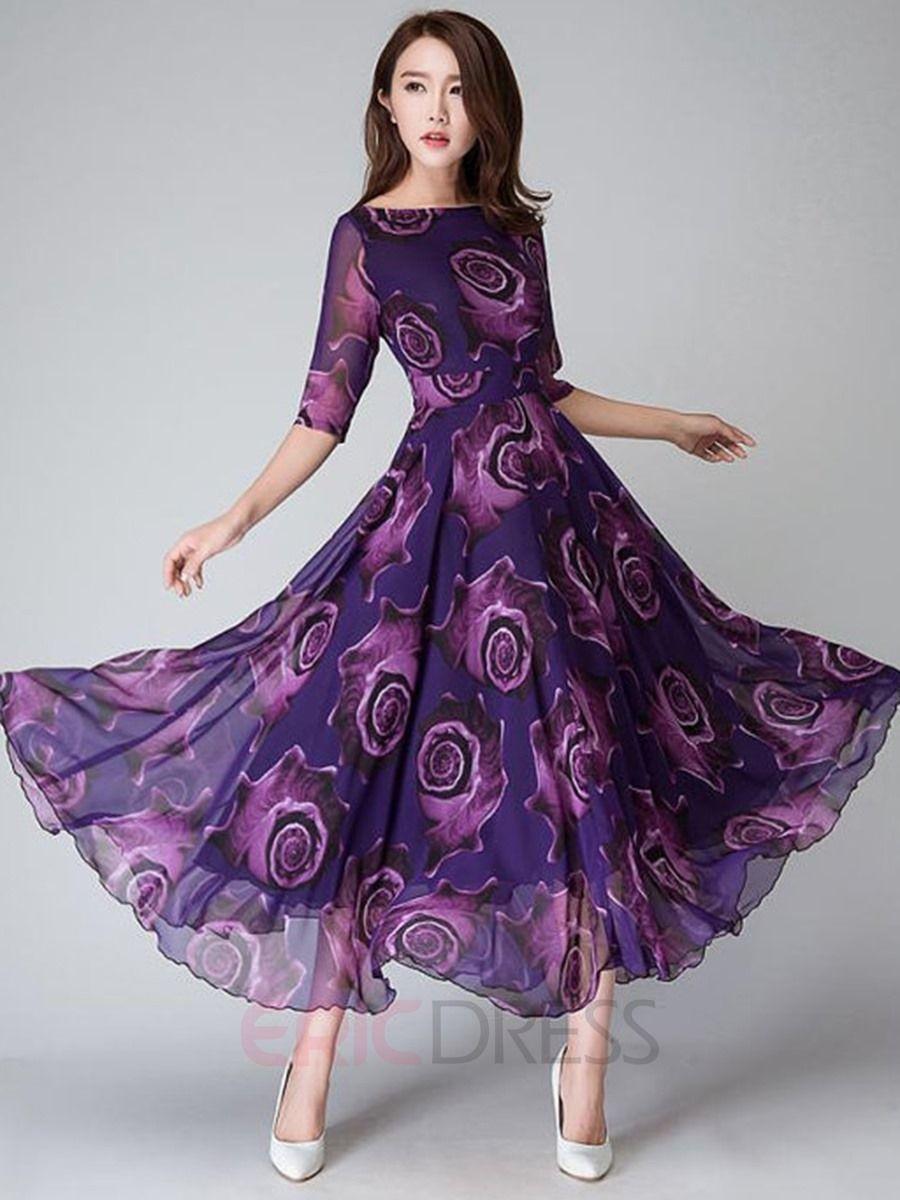 Flower Print Halbarm Expansion Runde Hals Maxi-Kleid | Maxi kleider ...