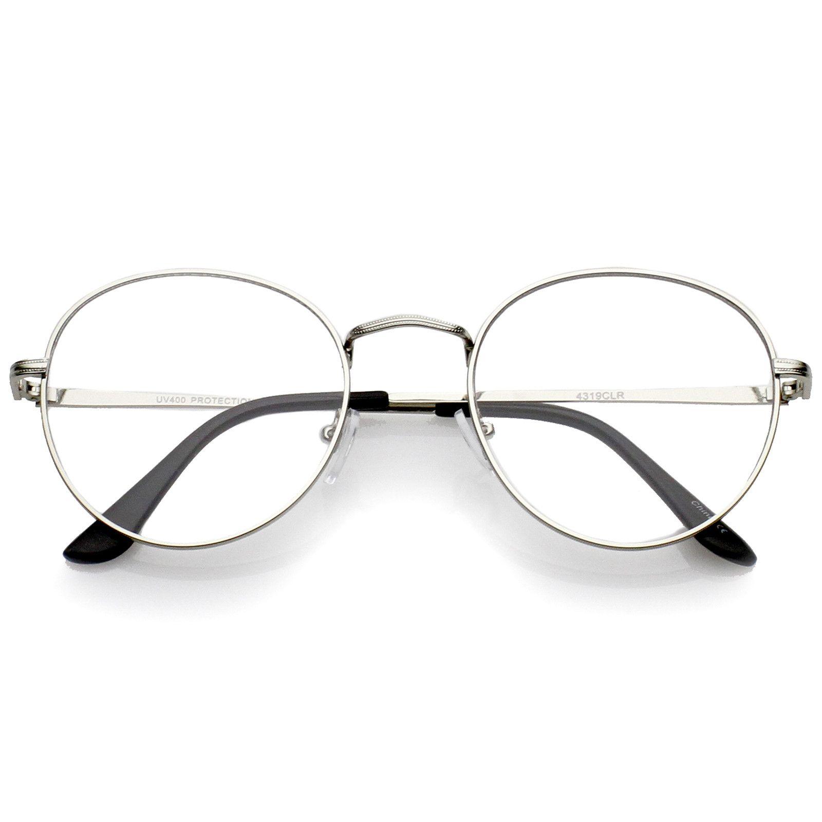 Classic Slim Metal Frame Clear Flat Lens Round Eyeglasses 52mm Vintage Eye Glasses Eyeglasses For Women Round Metal Glasses