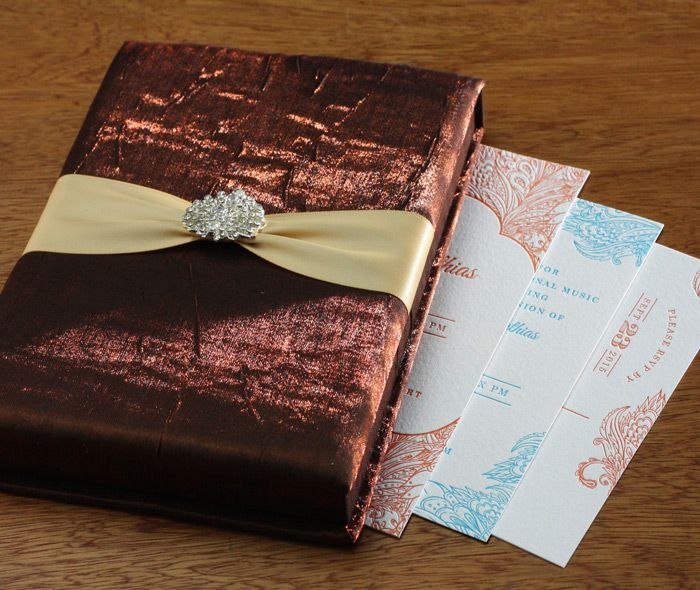 Elegant Brown Satin Presentation Box With Ribbon For An Indian Letterpress Wedding Invitation Set