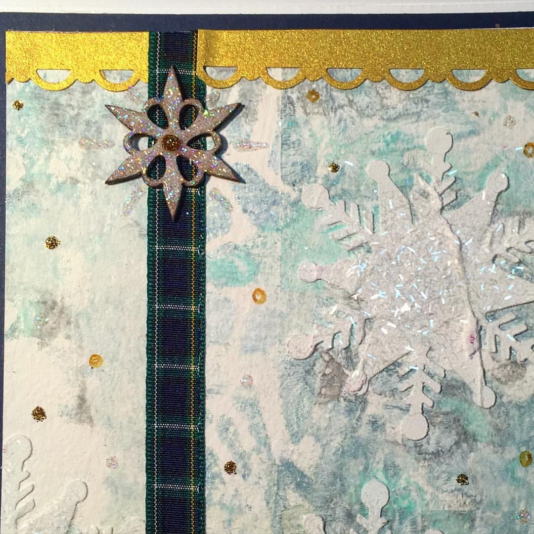 #card #detail #snowflake #Christmas #winter #art #JustChickenScratch @brotherscanncutusa @goldenpaints @alteredpages @leakyshedstudio  @gelliarts @marthastewart @kaisercraft #stickles