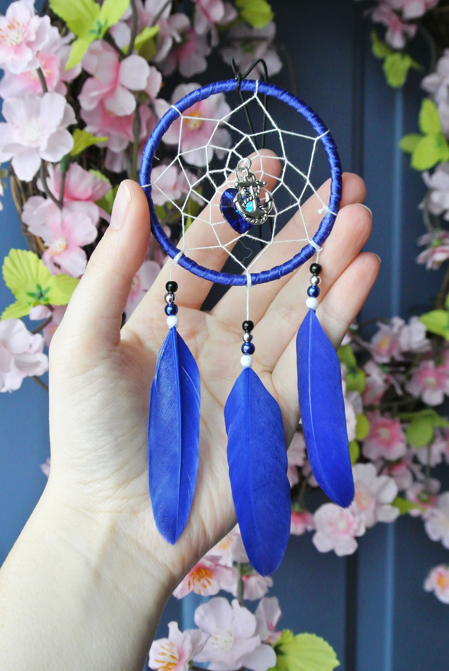 Dream Catcher Feather Colourful Crystal Glass Chakra Rear View Car Mirror Charm