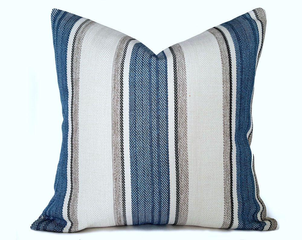 Blue Striped Pillows Gray