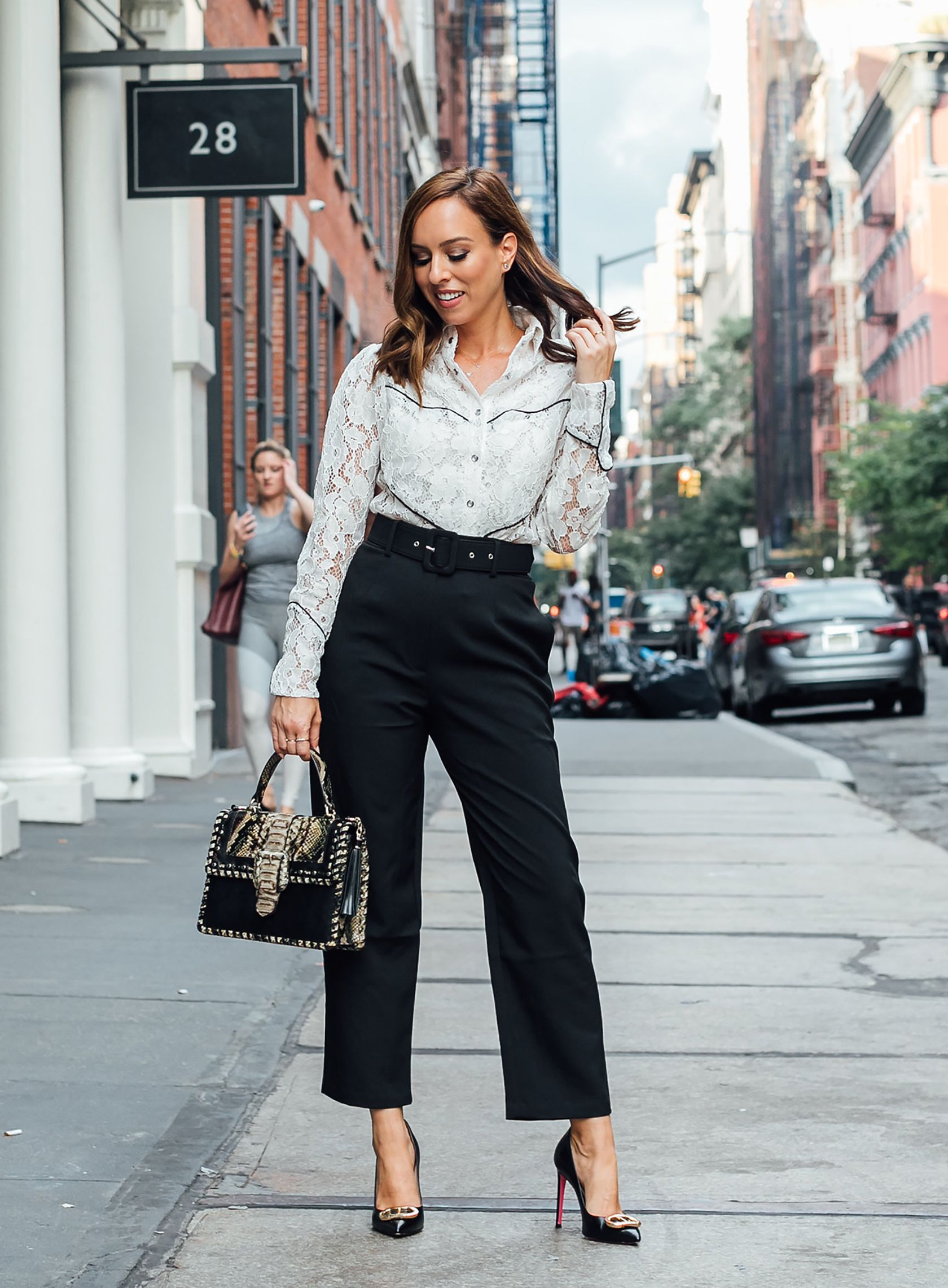 730a29b95ec Sydne Style shows what to wear to the office in cropped black pants   western  fall  officeoutfits  sydnesummer