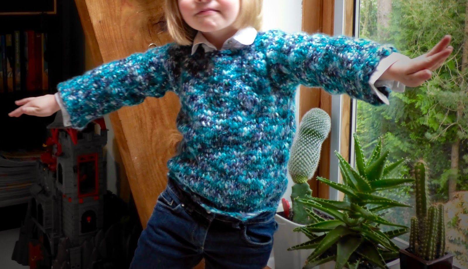 Tricoter un pull facile et rapide pour fille ou garçon. tuto gratuit. niveau débutant. Une ...