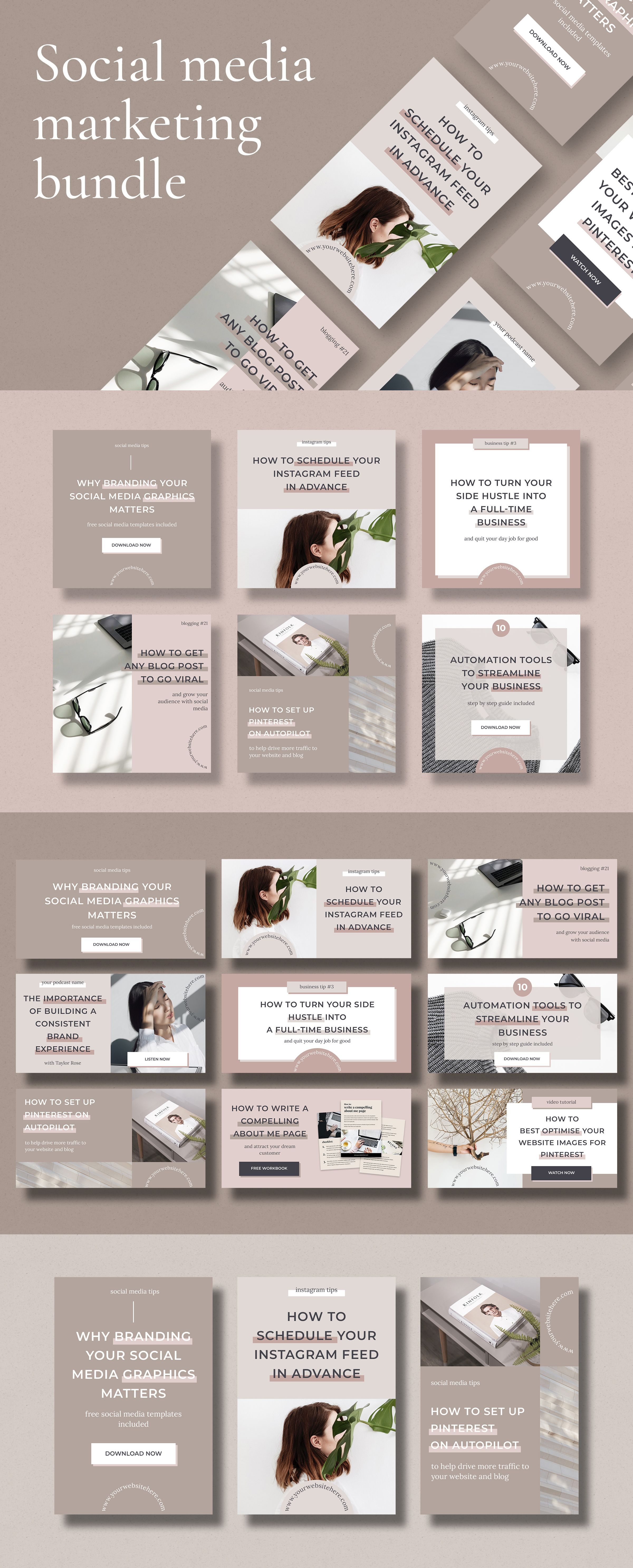 Social Media Post Template Bundle For Bloggers Instagram Post Templates Instagram Stories Pinterest Graphics Facebook Banner Design Pack Social Media Marketing Social Media Marketing Strategy Social Media