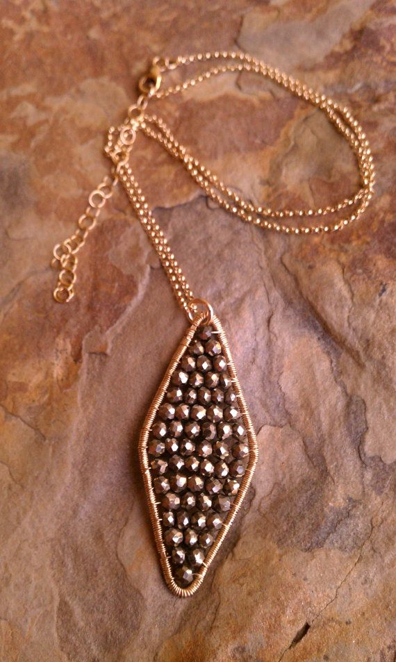 Pyrite diamond shaped pendant in 14k gold fill by MistyEvansDesign, $135.00