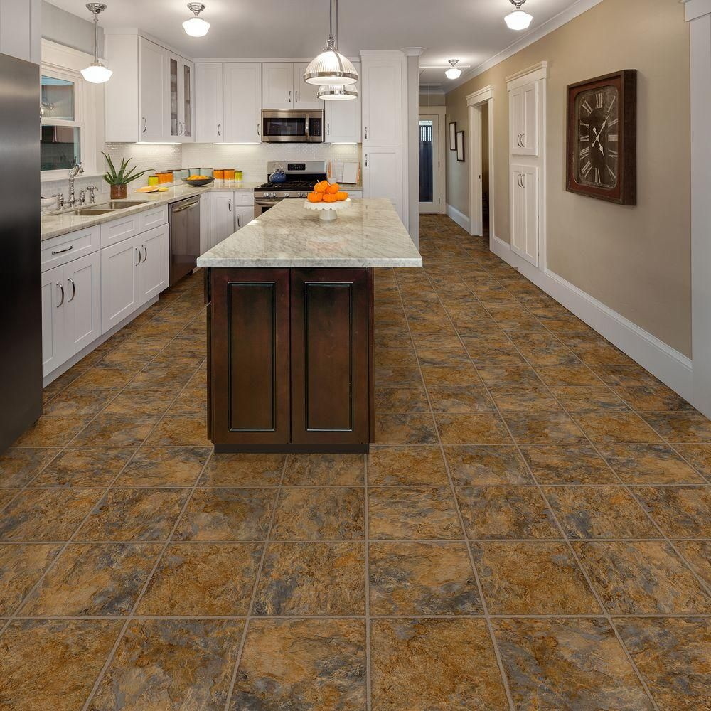 Home Office Vinyl Flooring Tiles In Dubai: TrafficMASTER Ashlar 12 In. X 36 In. Luxury Vinyl Tile