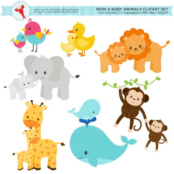 Mama Y Bebe Animales Clipart Set Conjunto De Imagenes Etsy Animal Clipart Animal Clipart Free Cute Animal Clipart