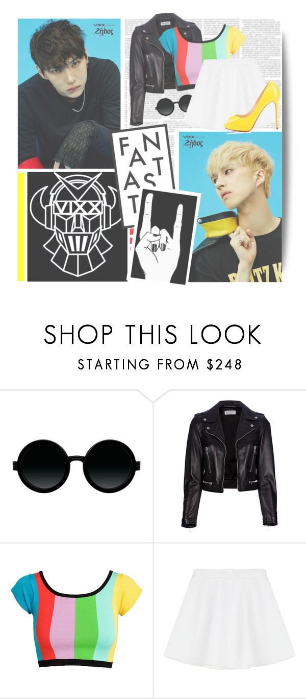"""Dynamite--- Vixx"" by alicejean123 ❤ liked on Polyvore featuring Moscot, Yves Saint Laurent, Jeremy Scott, RED Valentino, Privé and Prada"