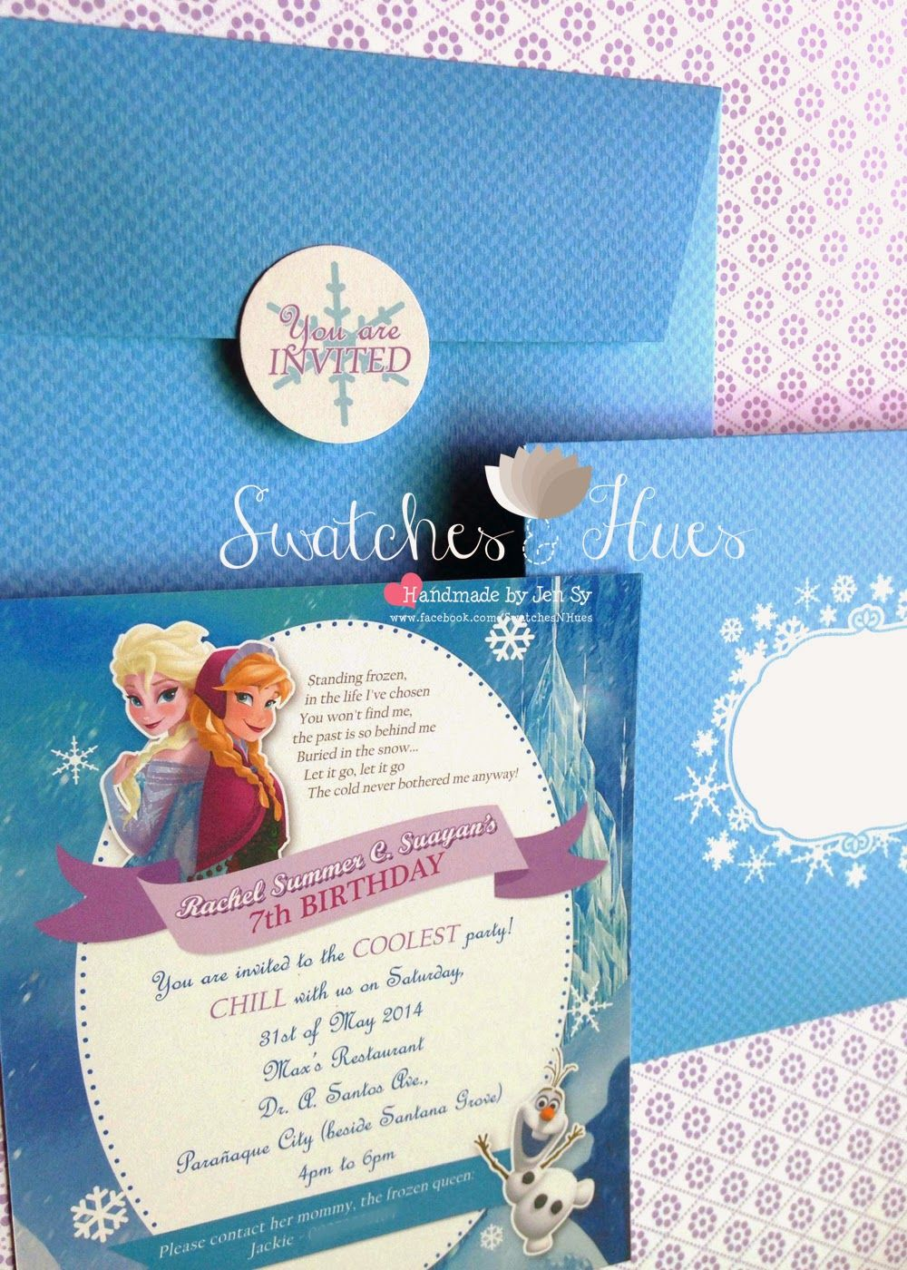 Frozen themed flat print invitation handmade invitations frozen themed flat print invitation stopboris Image collections
