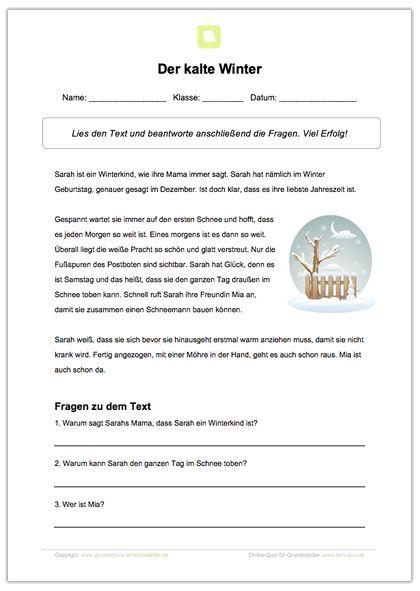 Arbeitsblatt: Lesen und Verstehen: Der kalte Winter | Pinterest ...