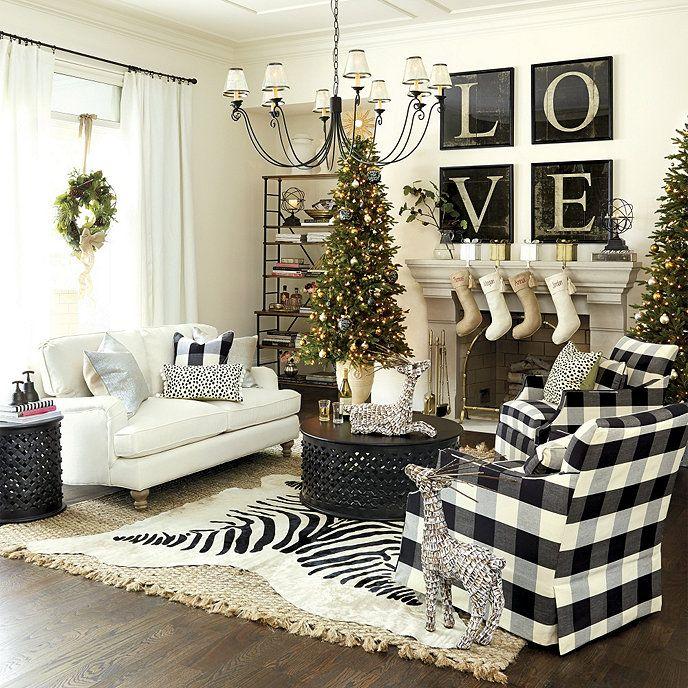 Buffalo Check Black Fabric By The Yard Ballard Designs Christmas Living Rooms White Decor White Christmas Decor