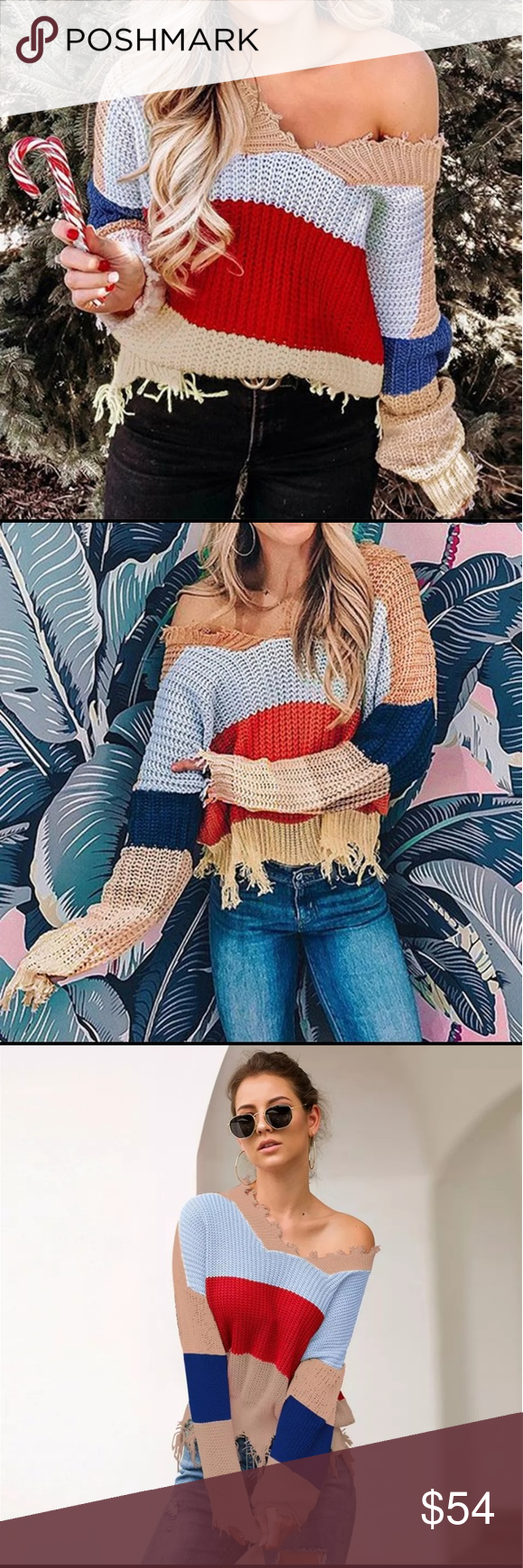 FALL FAV!  Frayed Fringed Oversized Knit Sweater Just in for fall 2019. Distressed  frayed oversized knit sweater.   Super soft and cozy knit blend of cotton/polyester/spandex Frayed v-neck and hem line Tan, blue, red and maize wide stripes. Beautiful weight - not too thick, not too thin. Size Med:  approx 22. long, 22 pit to pit Size Large: approx 24 long,  24 pit to pit. Sweaters #oversizedknitsweaters