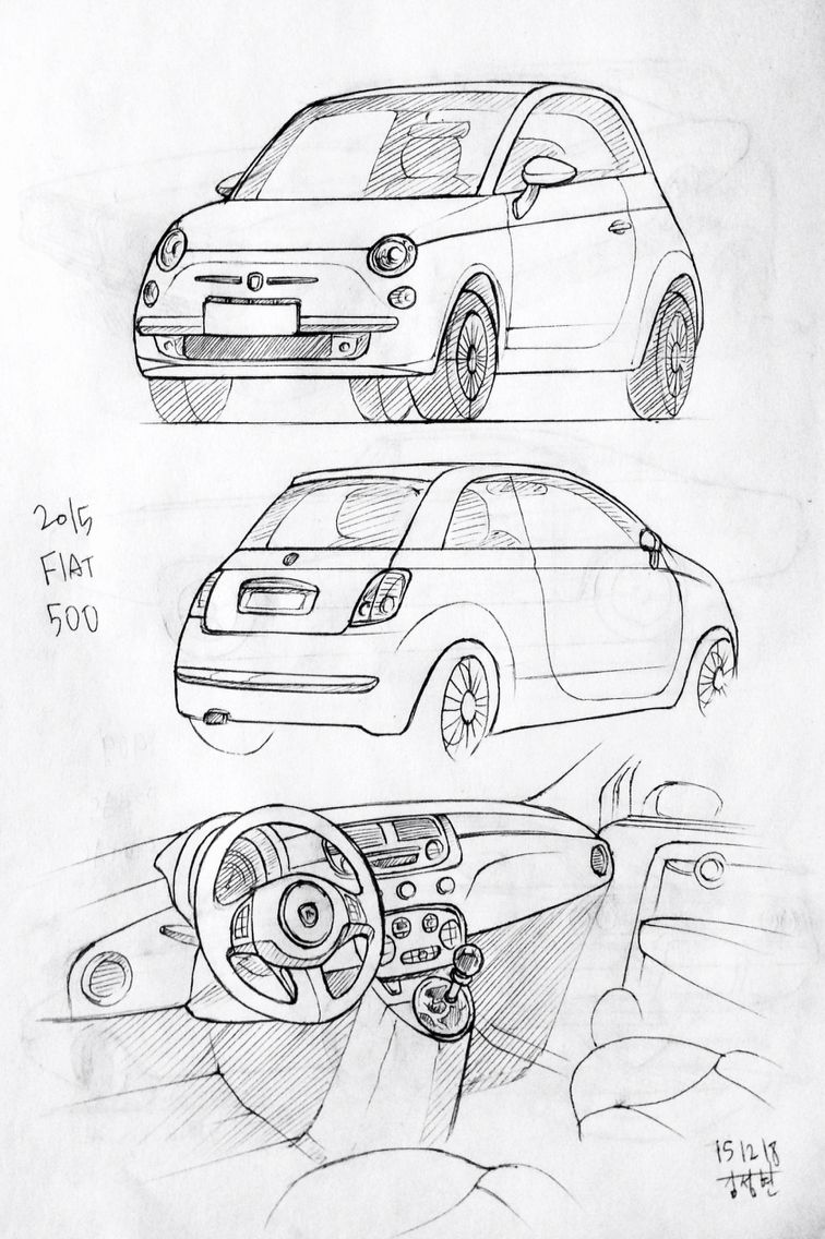 car drawing 151218 2015 fiat 500 prisma on paper j h
