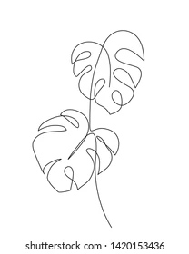 Monstera Leaf Line Art Contour Drawing Stock Vector (Royalty Free) 1420153436