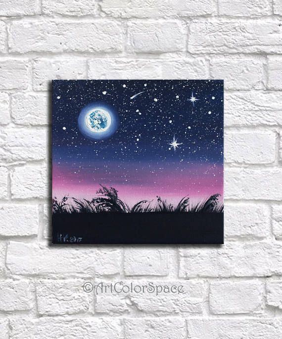 Space art Night sky painting Gifts for him Starry sky Full - #Art #Full #Gifts #night #Painting #Sky #Space #Starry