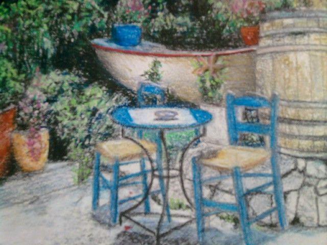 Cena de bar na Grécia, tela de descanso do Google pastel seco em canson por J. Carlos
