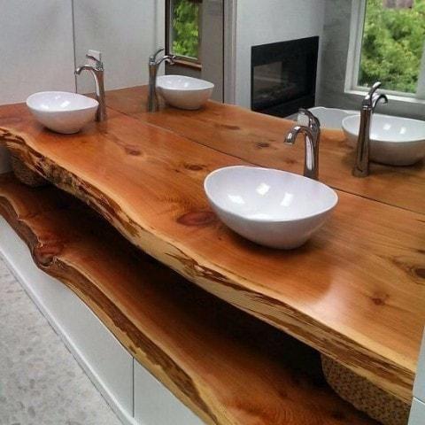 Bancada de madeira maciça para lavabo - Loja de Móveis de Madeira - lavabos rusticos