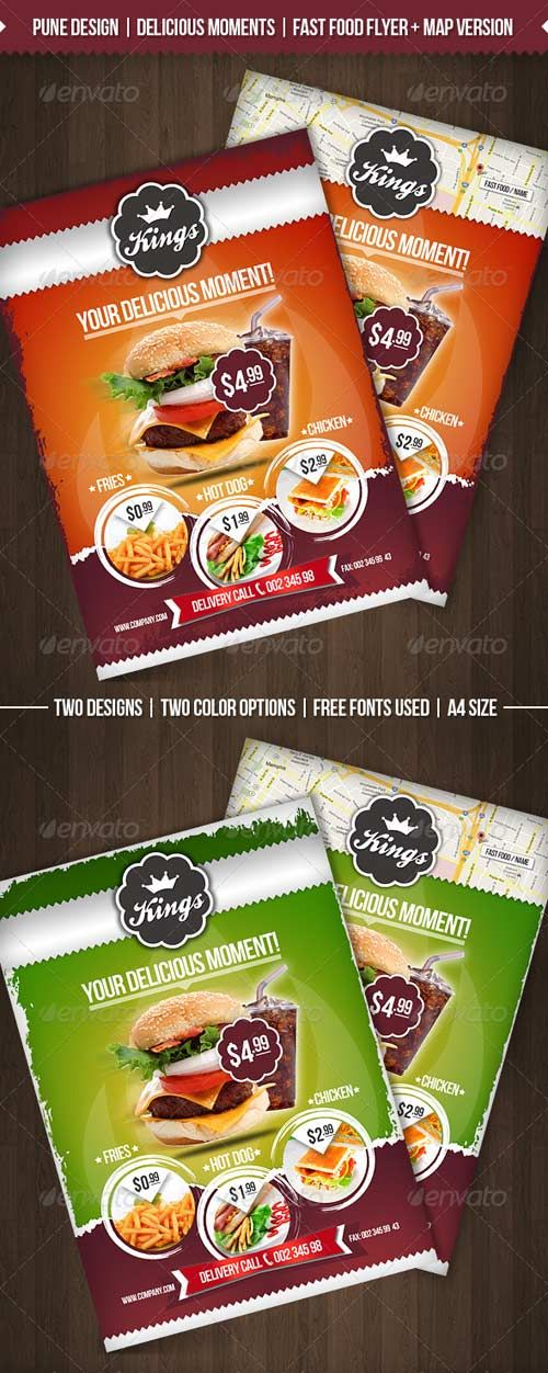 Graphicriver Delicious Moments Fast Food Flyer Template Flyers