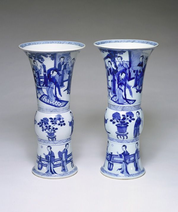 Beaker-shaped vase, from a five-piece garniture (F1980.190-.194) 1662-1722 Qing dynasty Kangxi reign Porcelain with cobalt pigment under clear colorless glaze H: 42.1 W: 21.0 D: 21.0 cm Jingdezhen, Jiangxi province, China