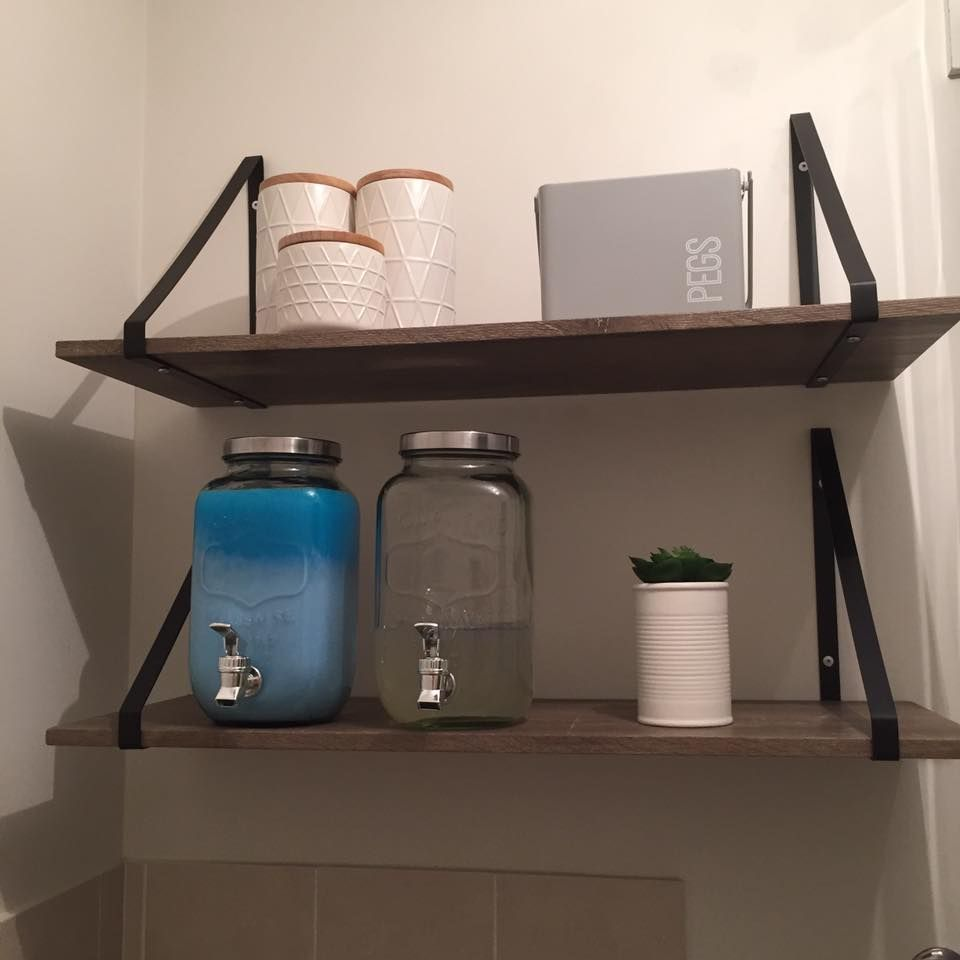 Laundry inspo from #bfree_style featuring Kmart hexagon shelves ...