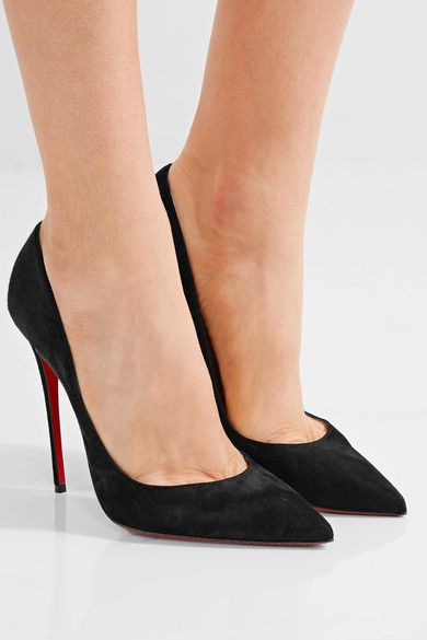 d57d1933621 Heel measures approximately 120mm  5 inches Black suede Slip on Made in  ItalySmall to size