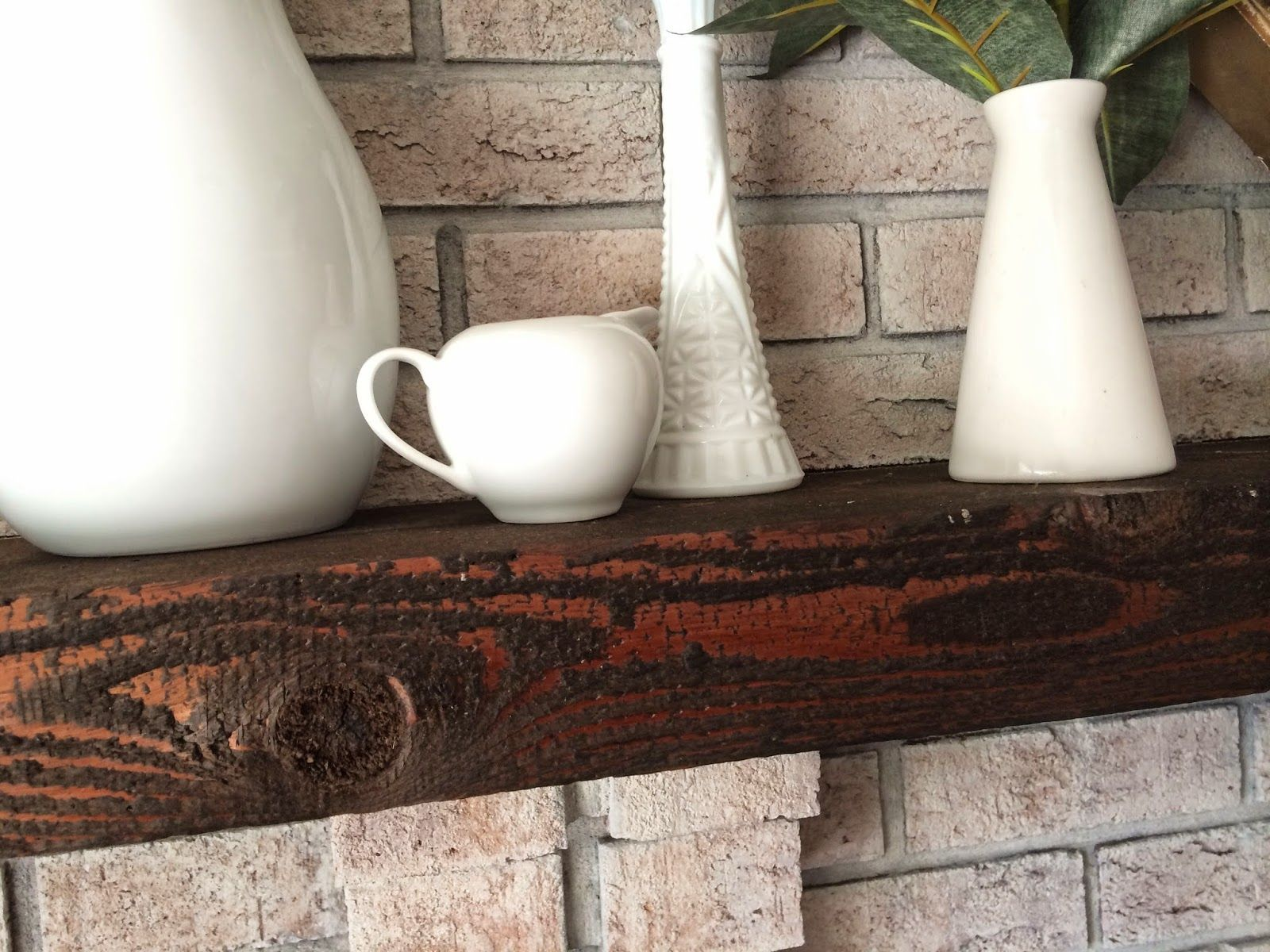 Staining a dated mantle //Walking with Dancers: The Family Room's Fire Place Update