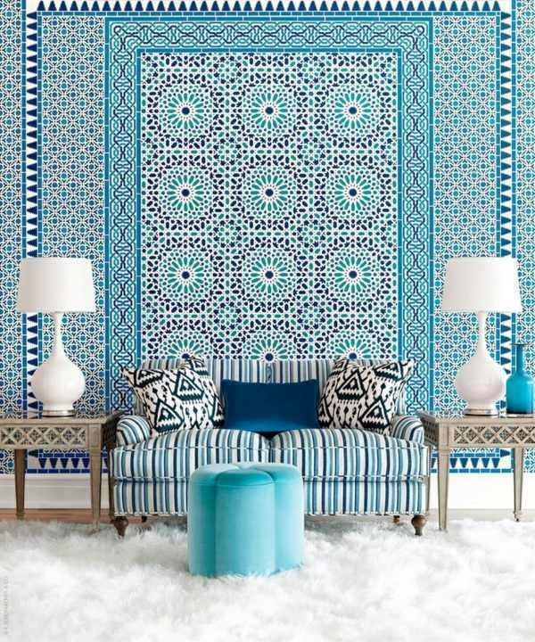 Farben  Blue Wallpaper  The Perfect Piped In Each Room Adorable Best Living Room Wallpaper Designs Decorating Design